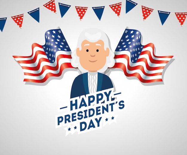Happy presidents day with flags usa and garlands