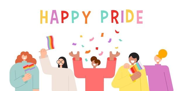행복한 자부심의 달 벡터 삽화를 축하하는 행복한 사람들 캐릭터 lgbtq 사람들과 함께 행복한 자부심 개념