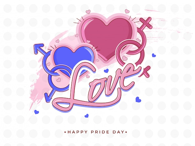 Happy pride day concept for lgbtq community with gay and lesbian couple sign.