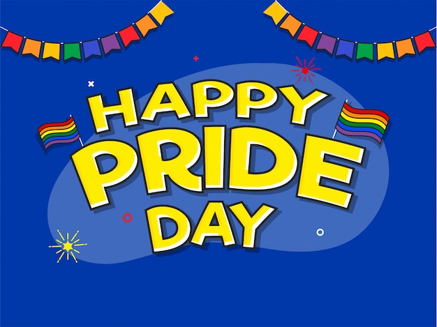 Happy pride day concept with rainbow colors flag symbol of freedom.