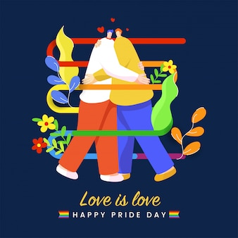 Happy pride day  illustration with young gay couple embrace on beautiful background. love is love concept.