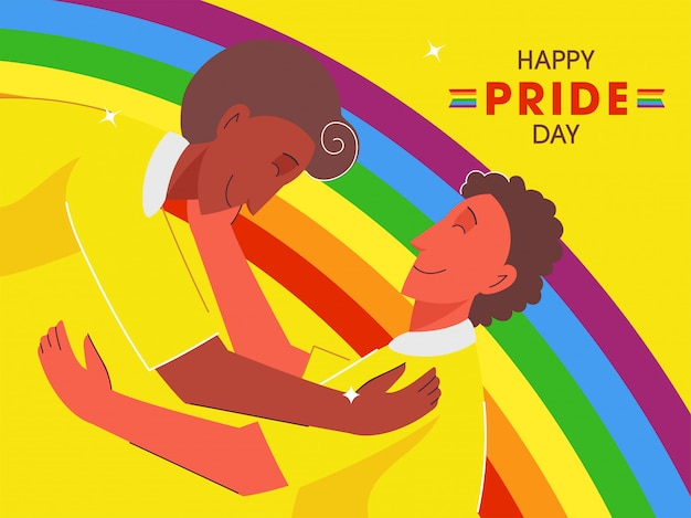 Happy pride day  illustration with young gay couple embrace to each other on rainbow color background.