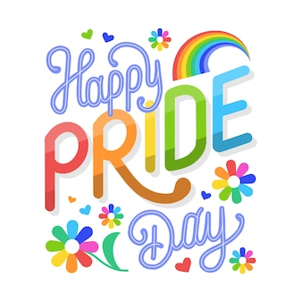 Happy pride day lettering with flowers