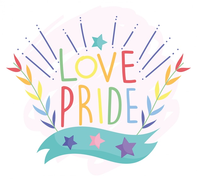 Happy pride day, love stars leaves decoration lgbt community
