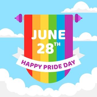 Счастливый день гордости с радужным флагом и лентой