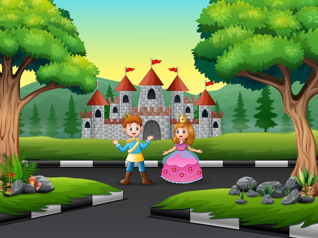 Happy prince and princess in a castle landscape