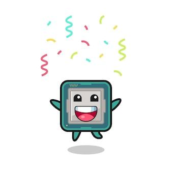 色の紙吹雪、tシャツ、ステッカー、ロゴ要素のかわいいスタイルのデザインでおめでとうのためにジャンプする幸せなプロセッサのマスコット