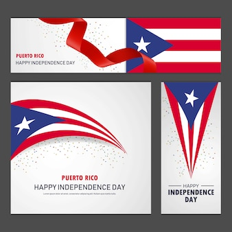 Happy puerto rico independence day banner and background set