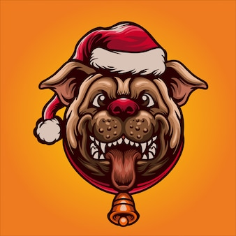 Happy pug in christmas