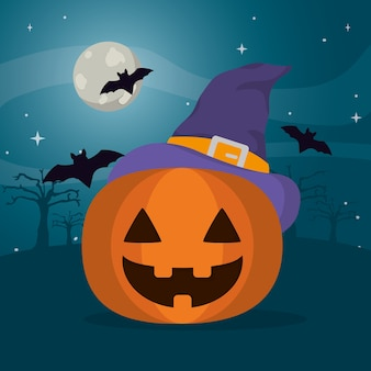 Happy pumpkin wearing witch hat and bats in the forest