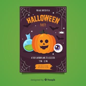 Happy pumpkin with cobweb halloween party flyer