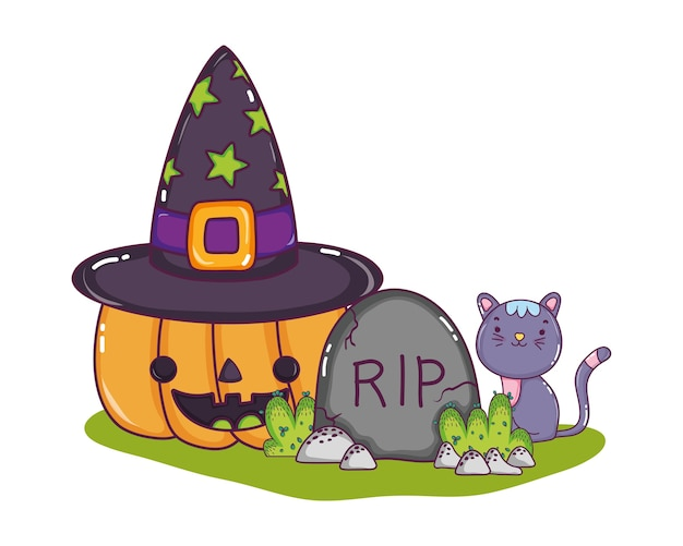 Happy pumpkin with hat and rip with cat
