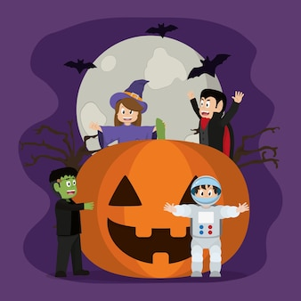 Happy pumpkin with horror people and bats