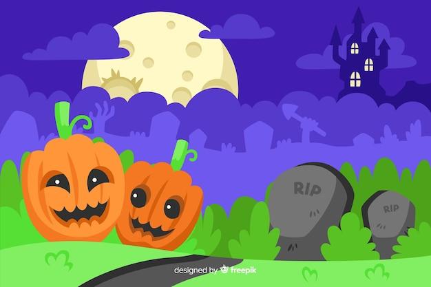 Happy pumpkins on grass halloween background