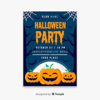 Happy pumpkins for halloween poster template