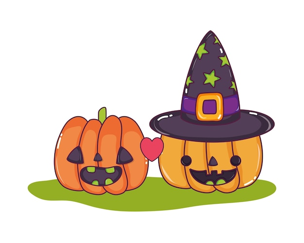Happy pumpkins in love with witch hat