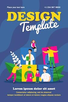 Happy pupils choosing career template