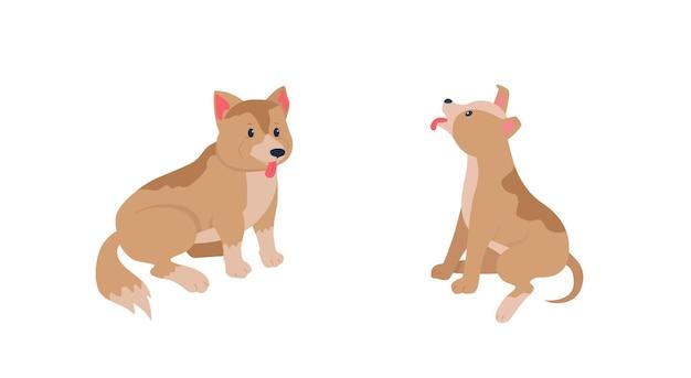 Счастливые щенки плоский цвет подробный набор символов