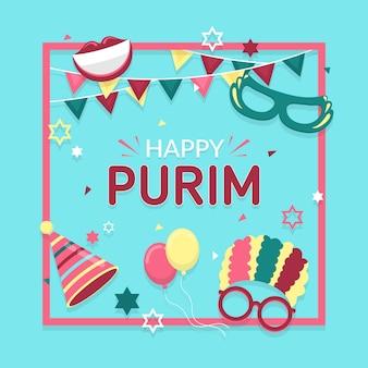 Happy purim day in flat design
