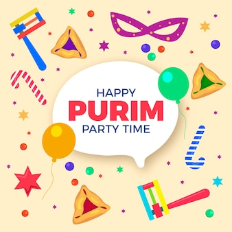 Happy purim day flat style