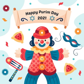 Happy purim day illustration with clown and date