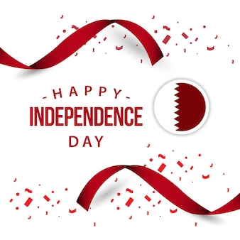 Happy qatar independent day vector template design