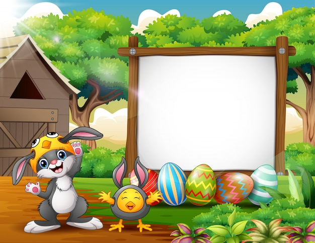 Happy rabbit and chicken with easter background