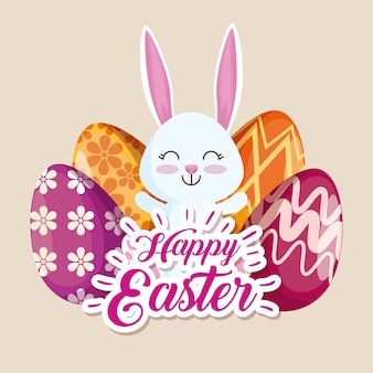 Happy rabbit and easter eggs with figures decoration