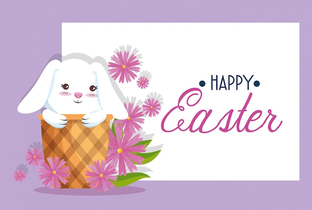 Happy rabbit inside basket to easter card decoration