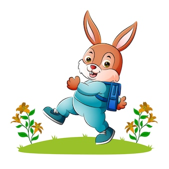 The happy rabbit is going to school with the happy face of illustration