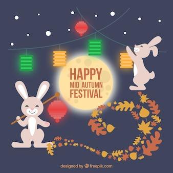 Happy rabbits with bright lanterns