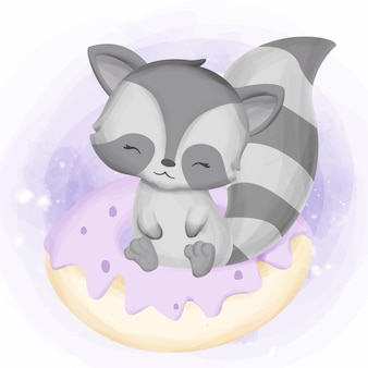 Happy raccoon play with donuts cake