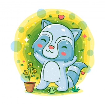 Счастливый енот играет в саду