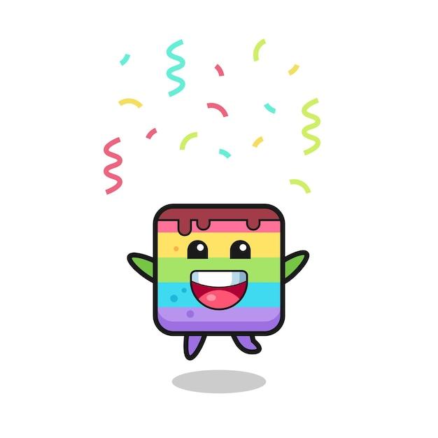 色の紙吹雪、tシャツ、ステッカー、ロゴ要素のかわいいスタイルのデザインでおめでとうのためにジャンプする幸せなレインボーケーキのマスコット