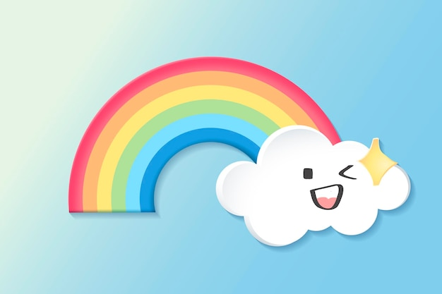 Happy rainbow element, cute weather clipart vector on blue background
