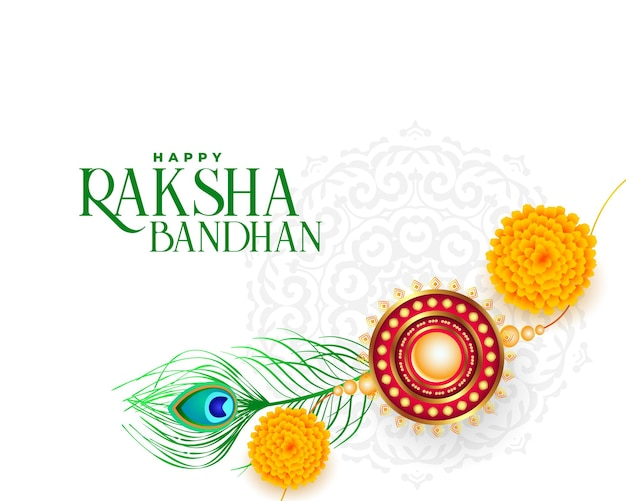 Счастливый ракша бандхан фон с рахи и павлиньими перьями