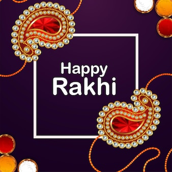 Happy raksha bandhan background with realistic rakhi