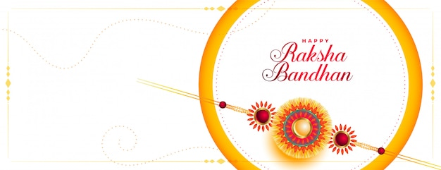 Happy raksha bandhan beautiful banner with rakhi