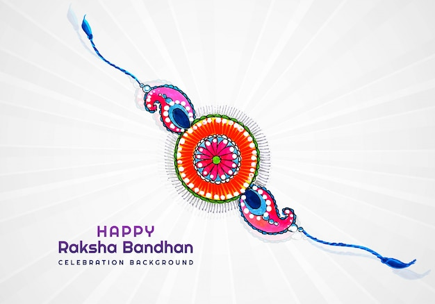 Happy raksha bandhan card for decorative rakhi design