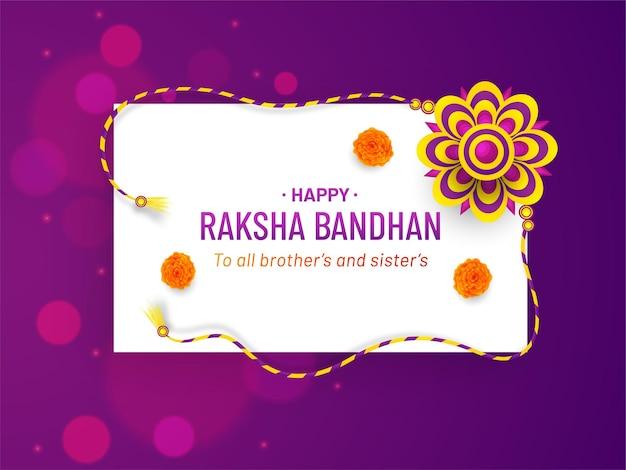 Happy raksha bandhan card design with elegant rakhi and bokeh background premium vector