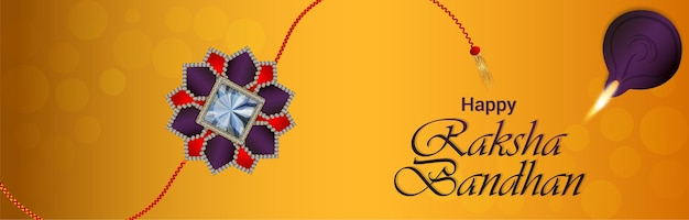 Счастливый баннер празднования ракша-бандхана с творческим ракхи