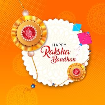 Happy raksha bandhan celebration card design with beautiful rakhi and kites.
