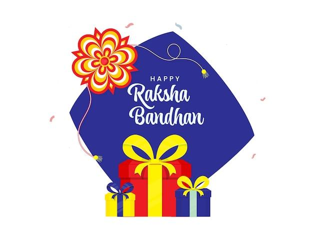 ギフトボックス、青と白の背景に花のラキ(リストバンド)と幸せなラクシャバンダンのお祝いのコンセプト。