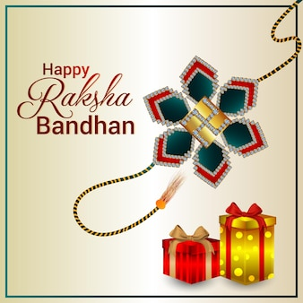 Happy raksha bandhan celebration greeting card with illustration