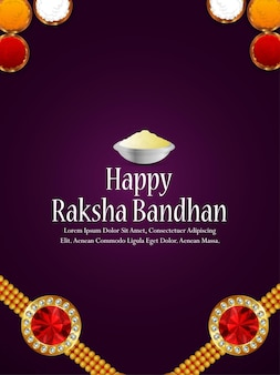 Happy raksha bandhan celebration party flyer or greeting card