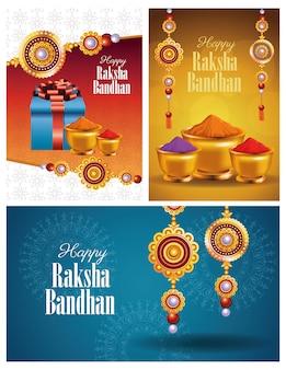Happy raksha bandhan celebration with floral decoration and powder colors