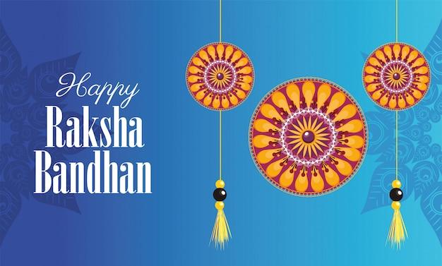 Happy raksha bandhan celebration with floral decorations hanging