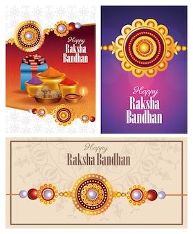 Happy raksha bandhan celebration with traditional set icons