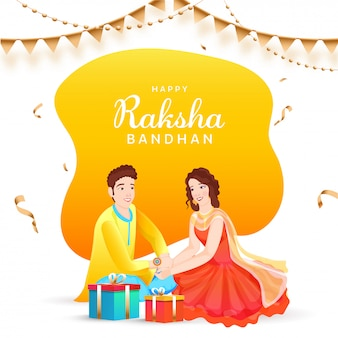 Happy raksha bandhan concept with beautiful young girl tying rakhi (wristband) on her brother's wrist and gift boxes.
