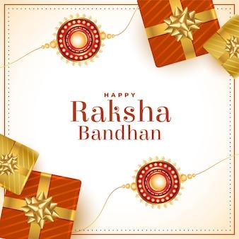 Felice carta etnica raksha bandhan con scatole regalo e design rakhi
